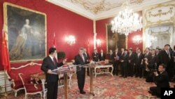 中国国家主席胡锦涛(左)和奥地利总统菲舍尔10月31日在维也纳会晤并举行记者会