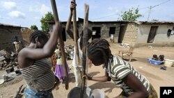 Women pound cassava in the village of Zeaglo near the Liberia border in western Ivory Coast, April 19, 2011