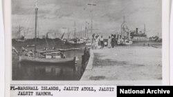 Amelia Earhart and her navigator Frederick Noonan on the Marshall Islands