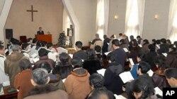 북한 평양 칠곡교회의 2008년 성탄절 예배 (자료사진)