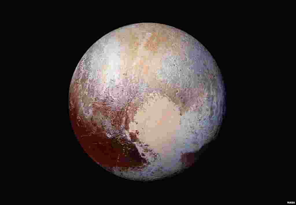 New Horizons scientists use enhanced color images to detect differences in the composition and texture of Pluto's surface. Four images from New Horizons' Long Range Reconnaissance Imager (LORRI) were combined with color data from the Ralph instrument to create this enhanced color global view.