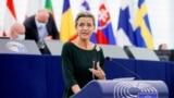 欧委会执行副主席玛格丽特·维斯塔格在法国斯特拉斯堡欧洲议会辩论欧盟与台湾政治关系与合作问题时发表讲话。(2021年10月19日)