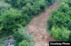Foto udara lokasi longsor yang diambil oleh BPBD Kabupaten Bantul. (Foto courtesy: BPBD Bantul)