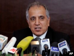 FILE - Zalmay Khalilzad, special adviser on reconciliation, speaks during a news conference in Kabul, Afghanistan.