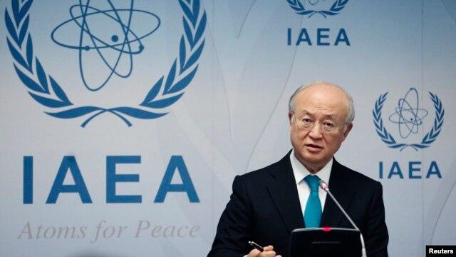 FILE - International Atomic Energy Agency (IAEA) Director General Yukiya Amano addresses a news conference.