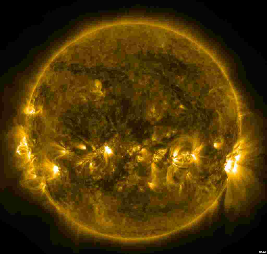 This image, taken by the AIA instrument on NASA's Solar Dynamics Observatory at 171 Angstrom, shows the current conditions of the quiet corona and upper transition region of the Sun.