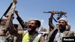 Pemberontak Syiah Houthi di Sana'a, Yaman (foto: dok).
