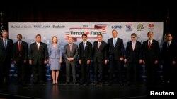미국 공화당 대통령 선거 경선 후보들이 3일 뉴햄프셔에서 열린 토론회에 참석했다. (자료사진)