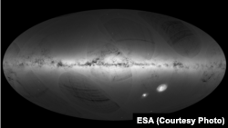 An all-sky view of stars in our Galaxy – the Milky Way – and neighboring galaxies, based on the first year of observations from ESA's Gaia satellite, from July 2014 to September 2015.