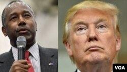 Кандидаты-республиканцы: бывший нейрохирург Бен Карсон и строительный магнат Дональд Трамп