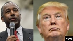 亿万富翁川普(右)和前神经外科医生卡森被认为最有可能获得共和党总统候选人提名的人选