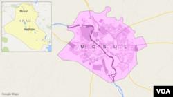 ແຜນທີ່ເມືອງ Mosul ປະເທດ ອີຣັກ.