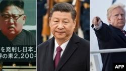 北韓領導人金正恩(左)中國國家主席習近平(中)與美國川普總統合成照。