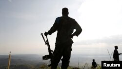 Nesta imagem de qrquivo, militar congolês, em Paida, perto de Beni, Kivu Norte, 2018.