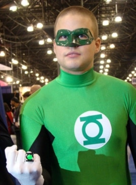 This is a Green Hornet lookalike, but the outfit is not atypical for true-life vigilantes who throw themselves into their roles.