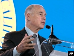 California Gov. Jerry Brown said he will need Republicans' help to renew California's cap-and-trade program, while speaking at the California Chamber of Commerce 92nd Annual Sacramento Host Breakfast, June 1, 2017, in Sacramento, California.