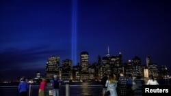 纽约曼哈顿2017年9月11日夜景(路透社)
