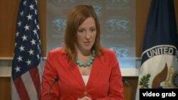 美國國務院發言人莎琪(美國之音視頻截圖)