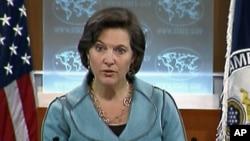 국무부 정례브리핑에서 빅토리아 눌런드 대변인. (자료사진)