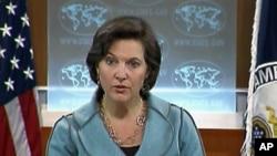2일 국무부 정례브리핑에서 북 핵 문제에 대해 설명하는 빅토리아 눌런드 대변인.