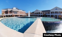 One of the fountains on the campus at Elon University in Elon, North Carolina.