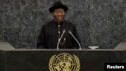 Nigeria's President Goodluck Jonathan addresses the 68th United Nations General Assembly, September 24, 2013.