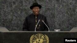 shugaba Goodluck Jonathan yana jawabi a wajen taron koli na 68 a zauren Majalisar Dinkin Duniya