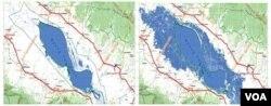 Diện tích Biển Hồ Tonle Sap co giãn với hai mùa Mưa Nắng: Mùa Khô (trái) là hồ cạn chỉ với diện tích 2,500 km2; Mùa Mưa (phải), khi bước vào tháng 5 đến tháng 9, do nước con Sông Mekong dũng mãnh đổ về, khiến con Sông Tonle Sap đổi chiều, chảy ngược vào Biển Hồ làm nước hồ dâng cao hơn từ 8 tới 10 mét và tràn bờ và làm ngập các khu Rừng Lũ / Flood forest, diện tích Biển Hồ tăng gấp 5 lần hơn, khoảng 12,000 km2. [nguồn: Tom Fawthrop]