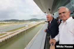 Vice President Mike Pence tours the Panama Canal on Aug. 17, 2017, during a four-country visit to Latin America. (White House photo)