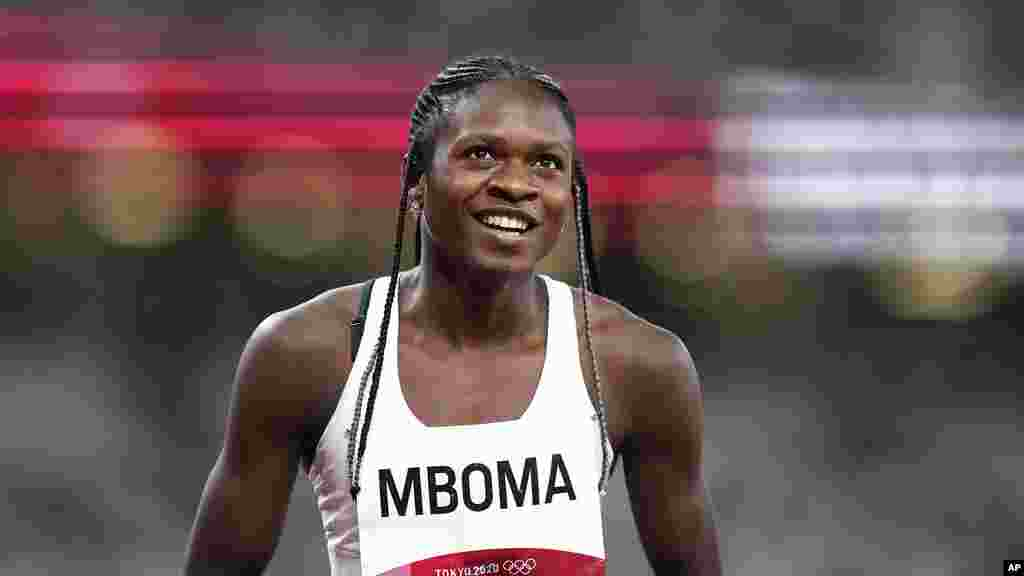 Christine Mboma, of Namibia, reacts after a semifinal of the women's 200-meters at the 2020 Summer Olympics, Monday, Aug. 2, 2021, in Tokyo. (AP Photo/Petr David Josek)