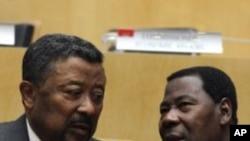 Le président en exercice de l'UA, le chef d'Etat béninois Thomas Boni Yayi, (à dr.), en compagnie de Jean Ping à Addis-Abéba, le mois dernier.