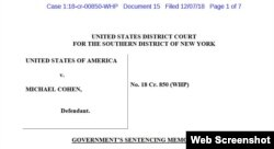 Seven-page government sentencing document for Michael Cohen, President Trump's former lawyer.