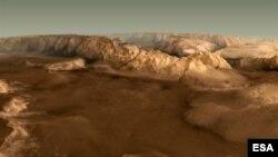 Imagen del paisaje marciano en los denominados Valles Marineris proporcionada por la Agencia Espacial Europea.