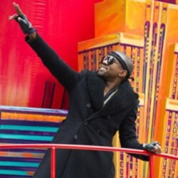 Kanye West rides a float in the Macy's Thanksgiving Day Parade