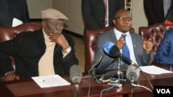 MDC-T leader Morgan Tsvangirai with Jacob Ngarivhume of Transform Zimbabwe.