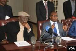 Tsvangirai and Ngarivhume speaking after signing a Memorandum of Understanding in Harare on Thursday.