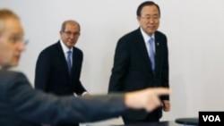 ທ່ານ Ban Ki-moon ກ່າວທີ່ກຸງ Hague ໃນວັນຈັນວານນີ້ວ່າ ສ່ວນທີ່ຍັງເຫລືອທັງໝົດນັ້ນ ແມ່ນການອະນຸມັດ ຈາກລັດ ຖະບານຊີເຣຍ.
