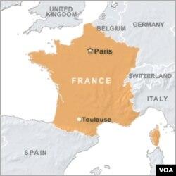 ແຜນທີ່ຝຣັ່ງ ສະແດງທີ່ຕັ້ງເມືອງ Toulouse