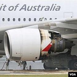 Kerusakan mesin pada salah satu mesin pesawat Airbus A-380 milik maskapai Qantas, Australia.