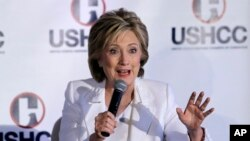 Democratic presidential candidate Hillary Clinton speaks to the U.S. Hispanic Chamber of Commerce in San Antonio, Texas, Oct. 15, 2015.