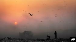 Asap tebal meredupkan sinar matahari saat beberapa anak kecil tengah mengais sampah di tempat penampungan sampah di New Delhi, India, 17 Oktober 2014 (Foto: dok).