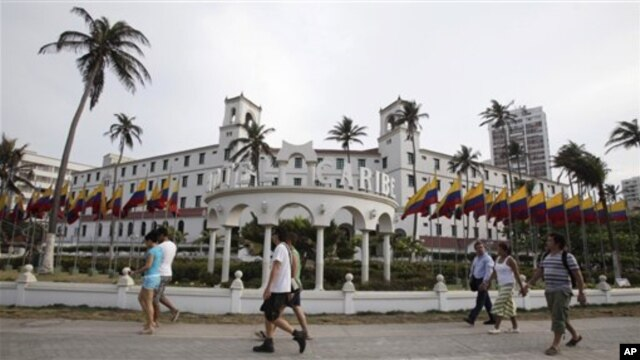 Suasana kota Cartagena, Kolombia tempat berlangsungnya KTT Benua Amerika. Beberapa pengawal Presiden Obama dipanggil pulang karena diduga terlibat 'prostitusi' di Cartagena.