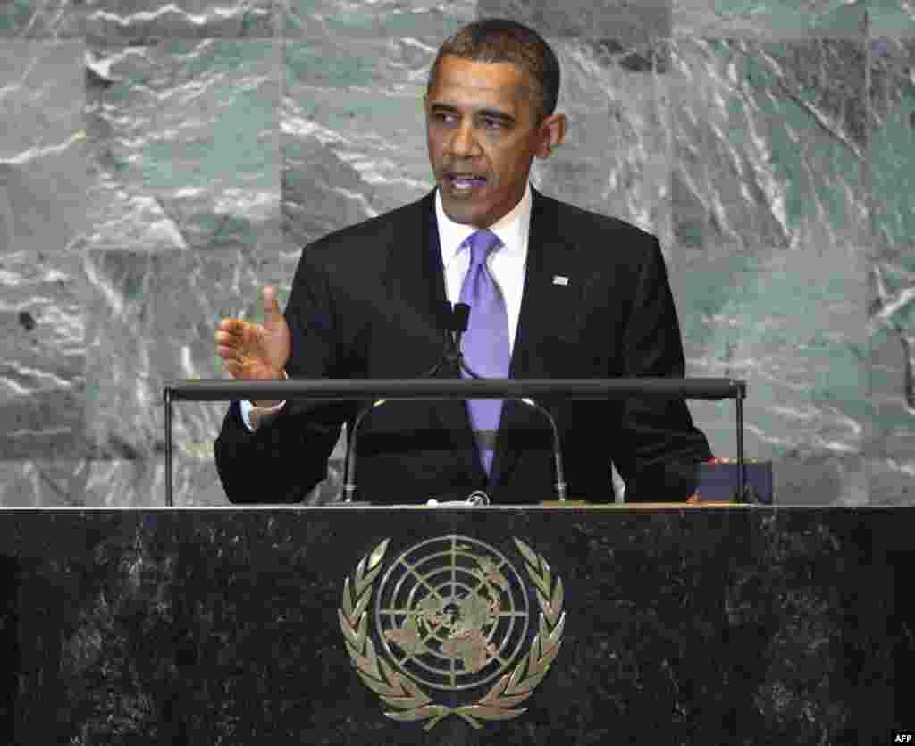 President Barack Obama addresses the 66th session of the United Nations General Assembly, Wednesday, Sept. 21, 2011. (AP Photo/Richard Drew)