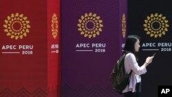 17일 페루 리마의 국립박물관 앞에 APEC 아시아태평양경제협력체 개막을 알리는 광고가 붙어있다.