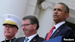 Tổng thống Obama tại buổi lễ tưởng niệm Ngày Chiến sĩ Trận vong ở Nghĩa trang quốc gia Arlington ở Washington hôm 30/5.