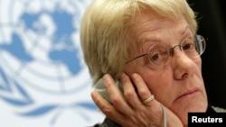 Thành viên của Ủy ban điều tra về Syria Carla del Ponte tại một cuộc họp báo ở trụ sở LHQ tại Geneva, ngày 18/2/2013.