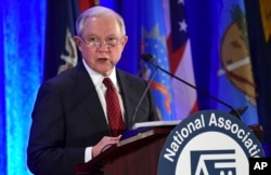 FILE - U.S. Attorney General Jeff Sessions speaks at the National Association of Attorneys General Winter Meeting in Washington, Feb. 27, 2018.