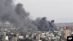 اسرائیلی بمباری کے بعد غزہ کا ایک منظر