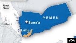 Peta wilayah Lahij dan ibukota Sana'a di Yaman (Foto: dok)