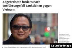 Hình ảnh Trịnh Xuân Thanh trên báo Suedeutsche Zeitung của Đức. Chính phủ nước này cáo buộc Việt Nam bắt cóc ông Thanh trong khi Hà Nội nói ông Thanh tự về đầu thú.